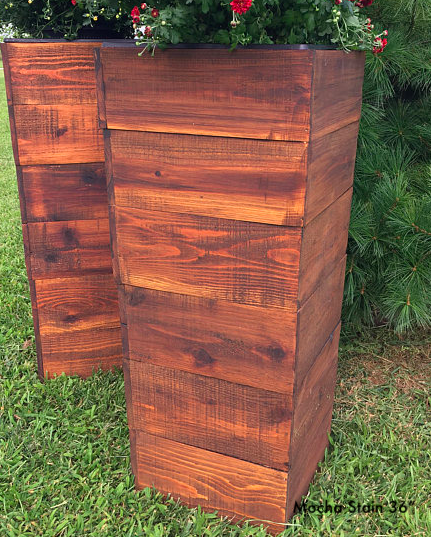 "Cedar mocha stain tall planter 36"""