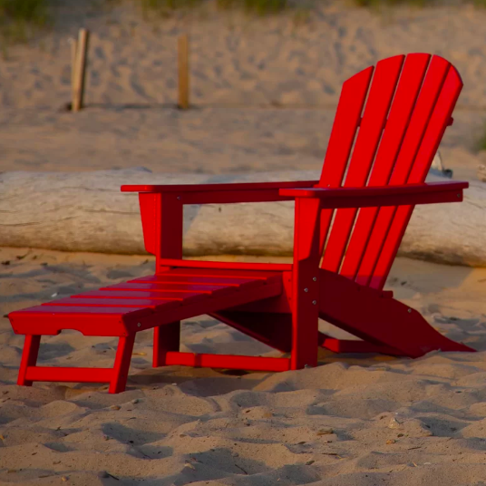 All Weather Adirondack Chair With Hideaway Ottoman
