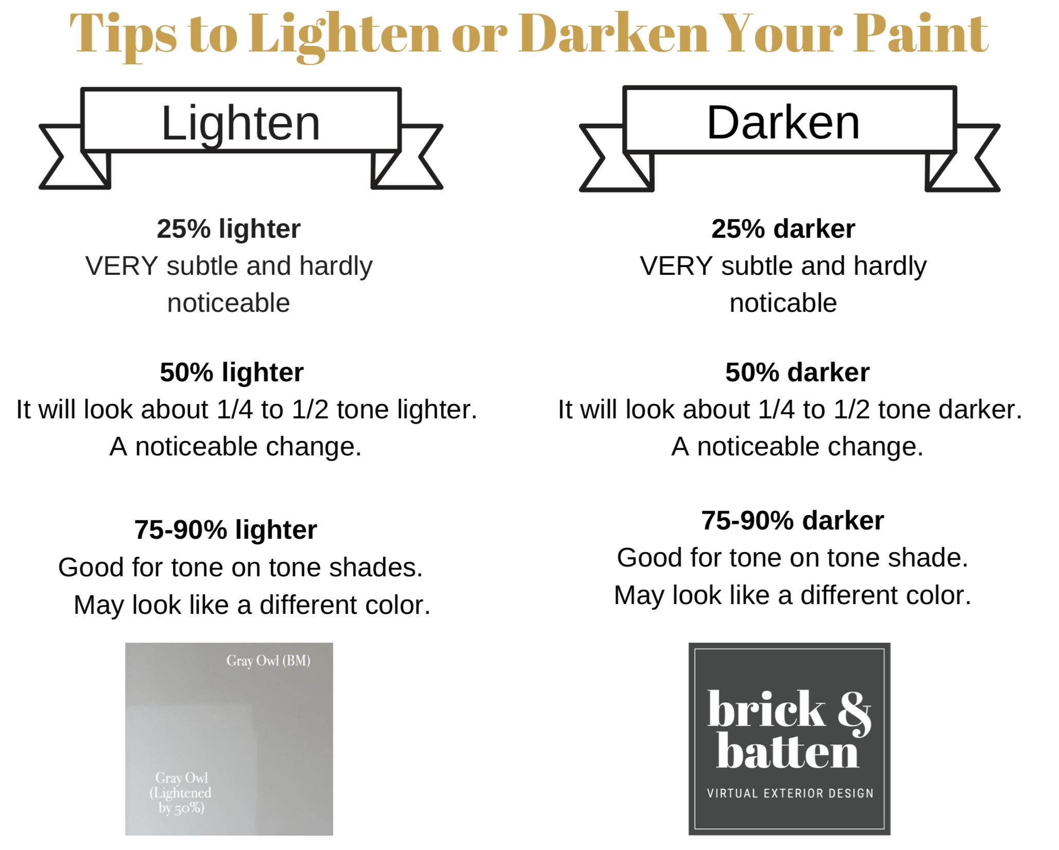 lighten or darken paint