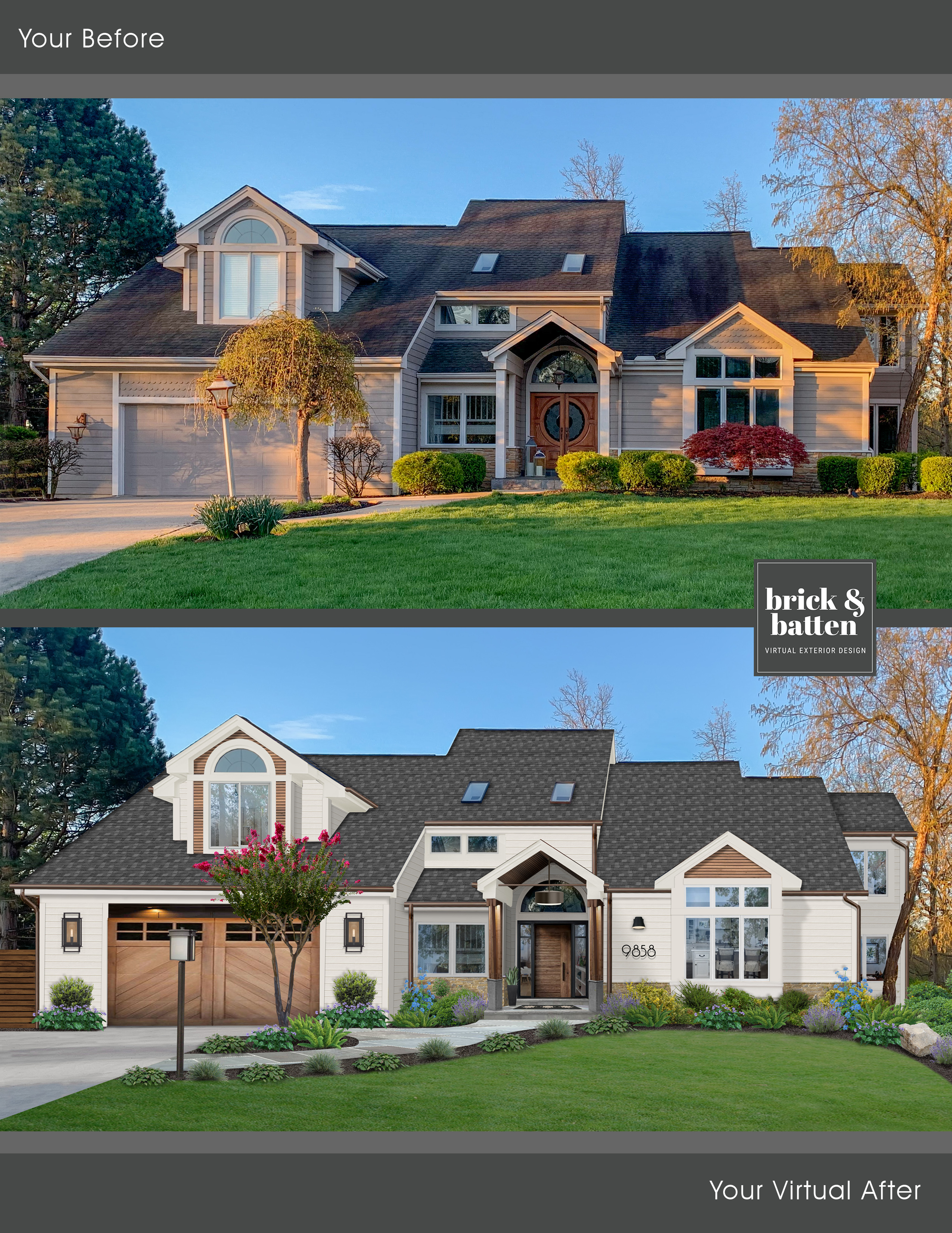 Traditional home with light wood carriage house garage door with windows