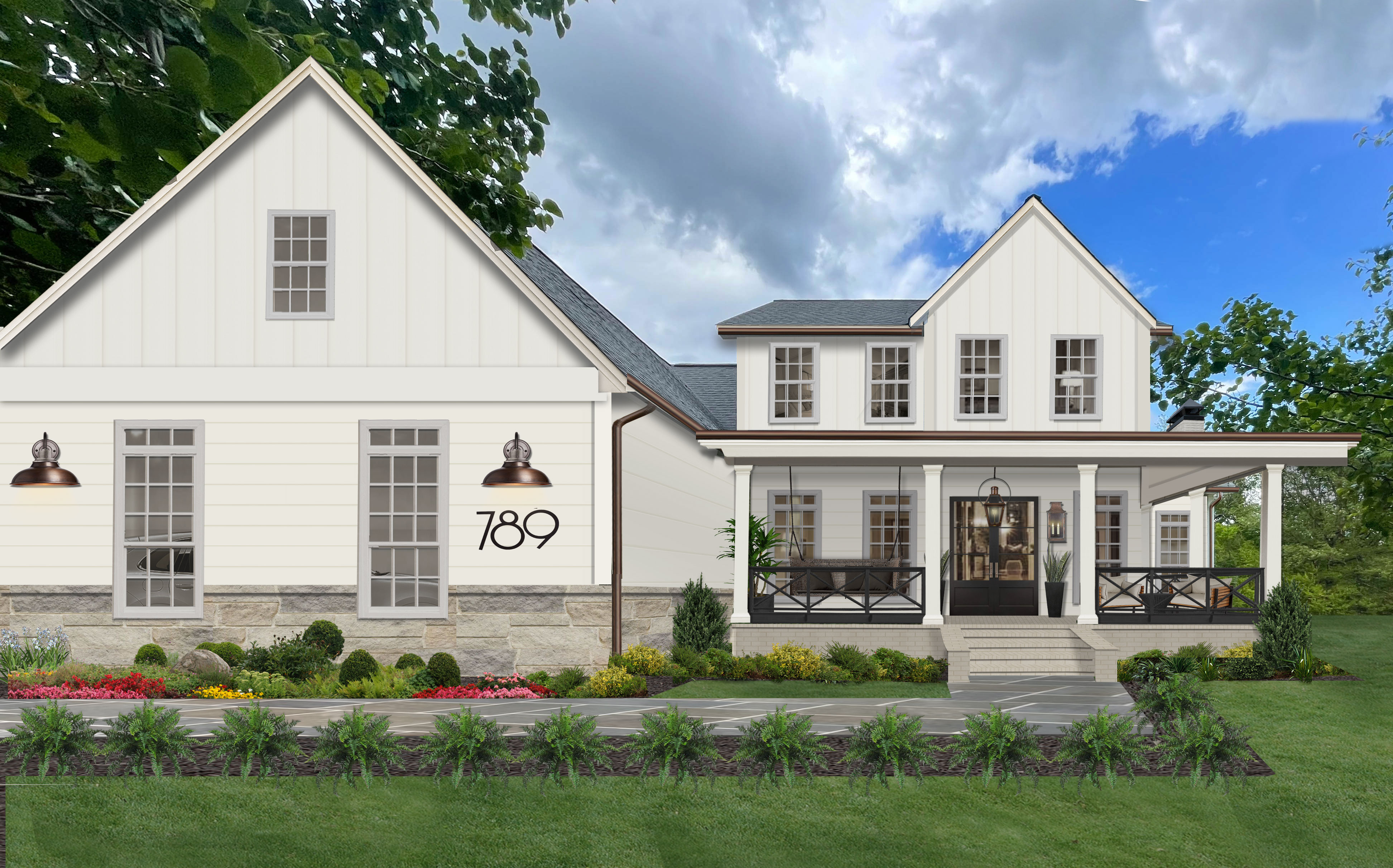 updated farm house painted in alabaster with large front porch and black and copper accents