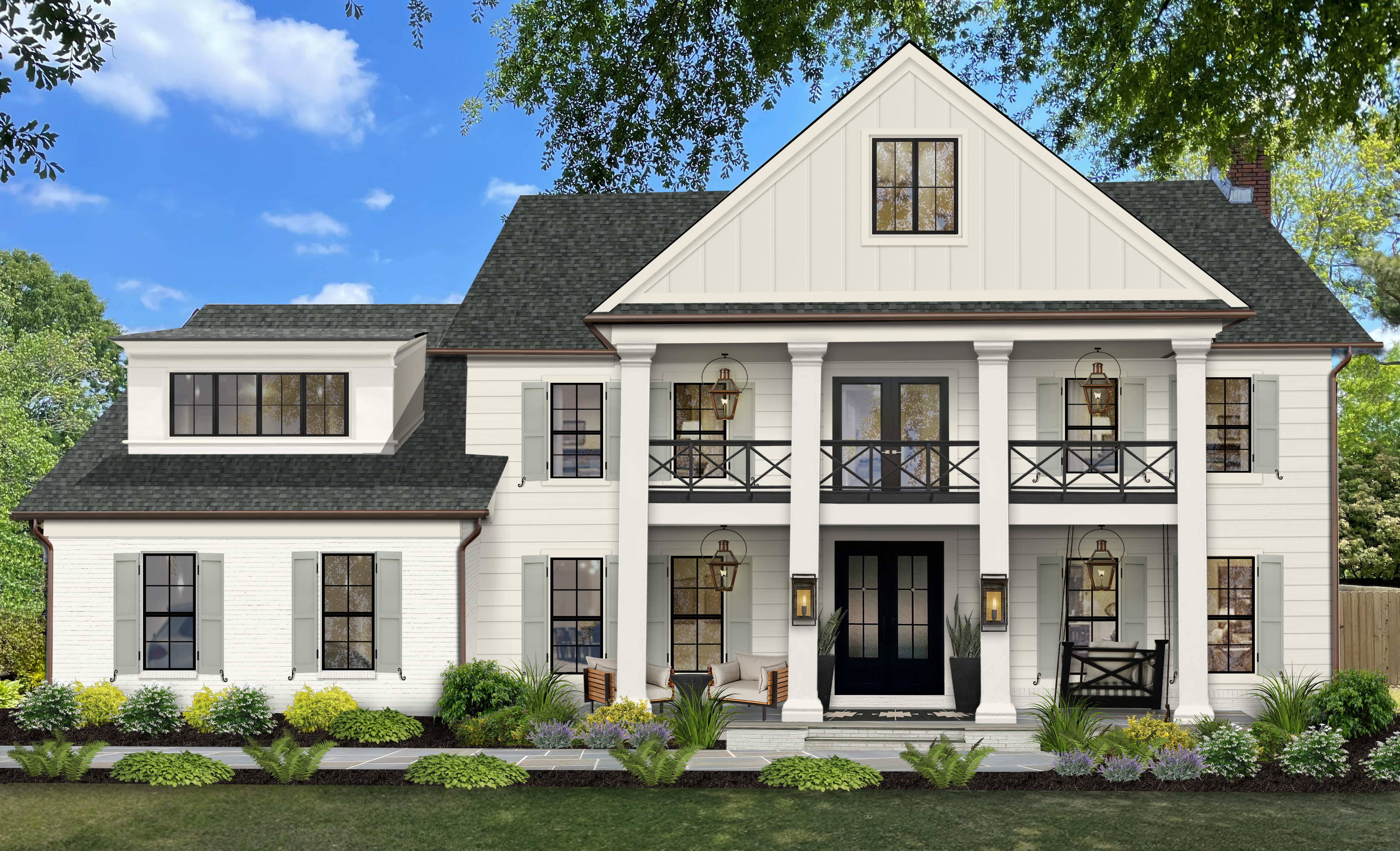 Virtual design of a traditional home painted in Seapearl with shutters in Seahaze