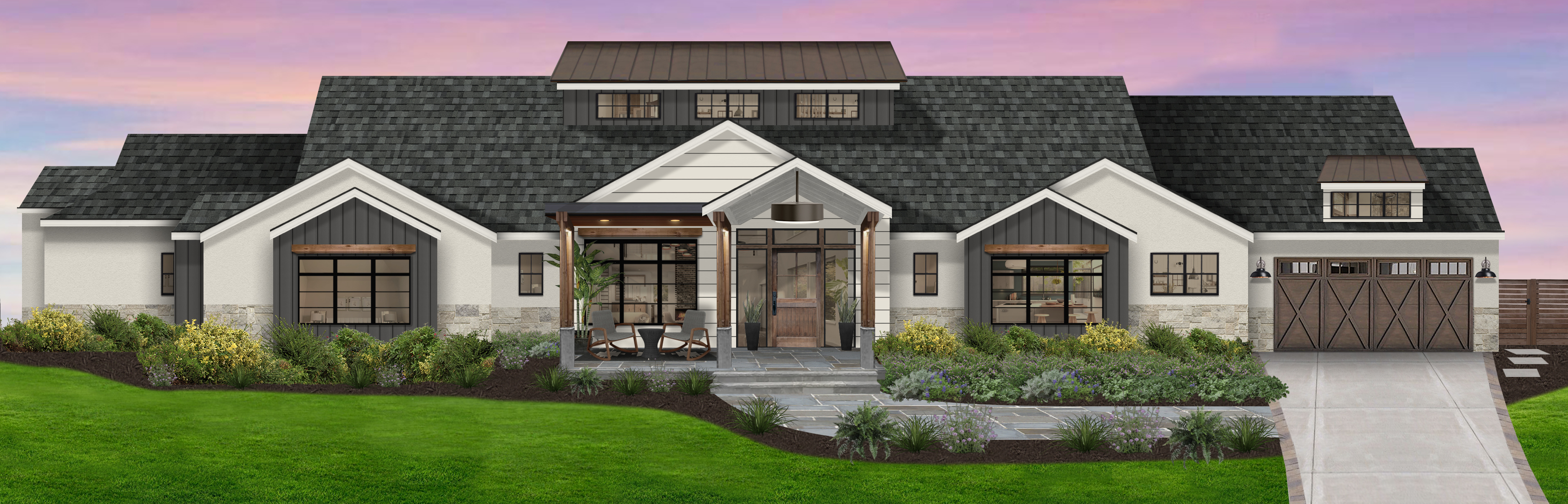 Virtual rendering of a home that makes use of James Hardie siding