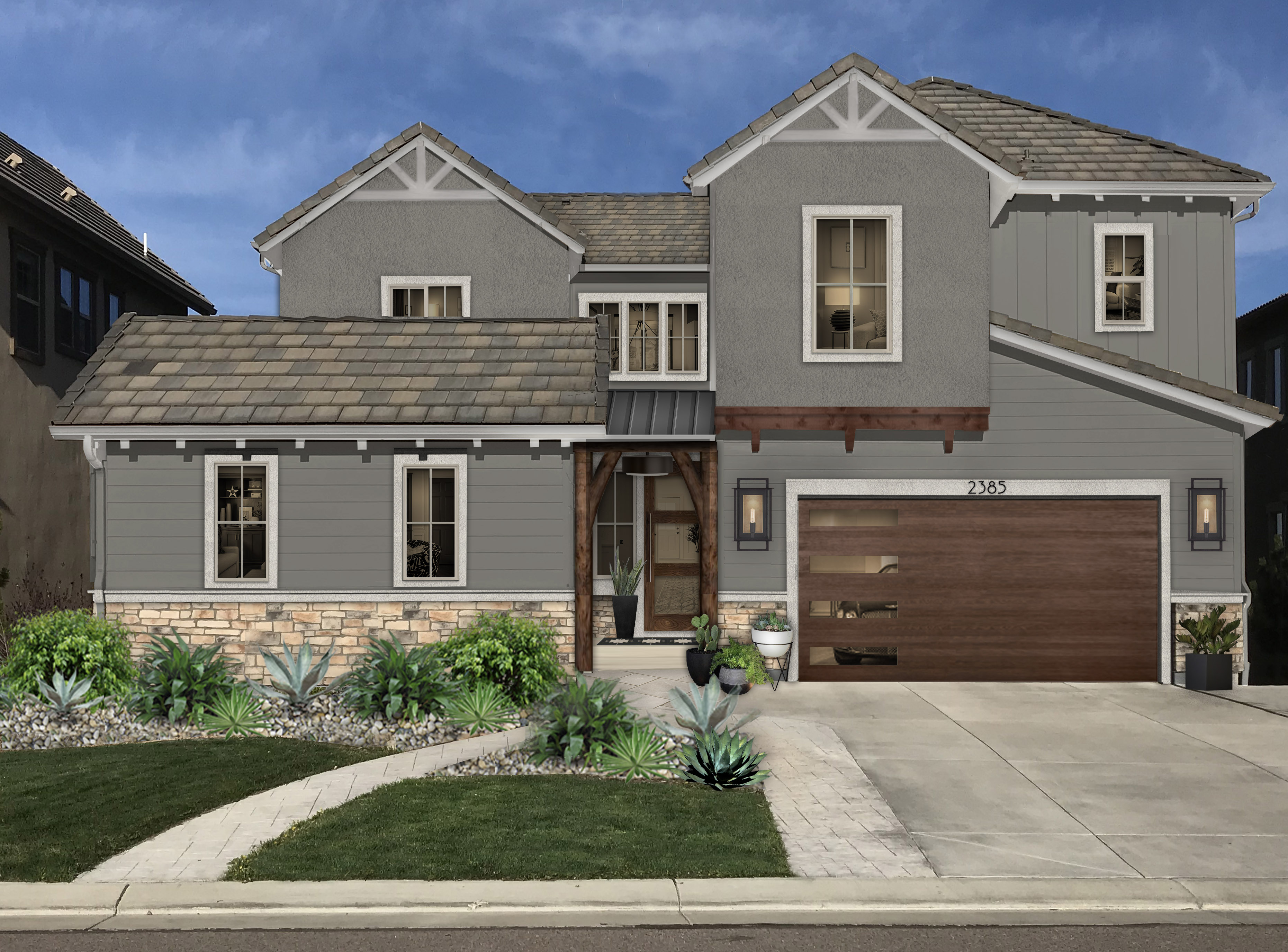 Virtual exterior design of a home with stucco and siding painted in Chelsea Gray with wood and stone accents