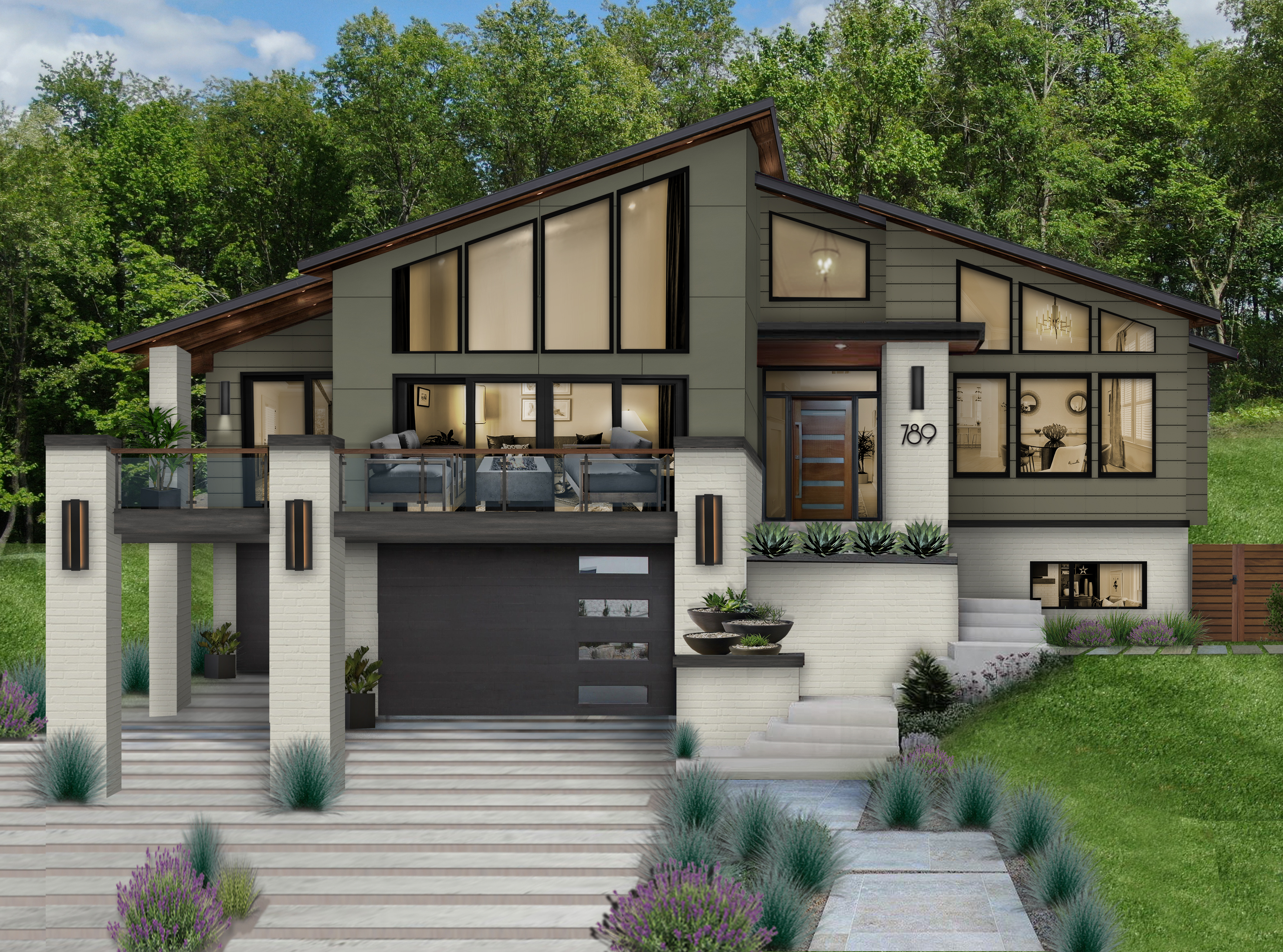 Virtual rendering of a contemporary new construction home that makes use of James Hardie siding in Summer Sage
