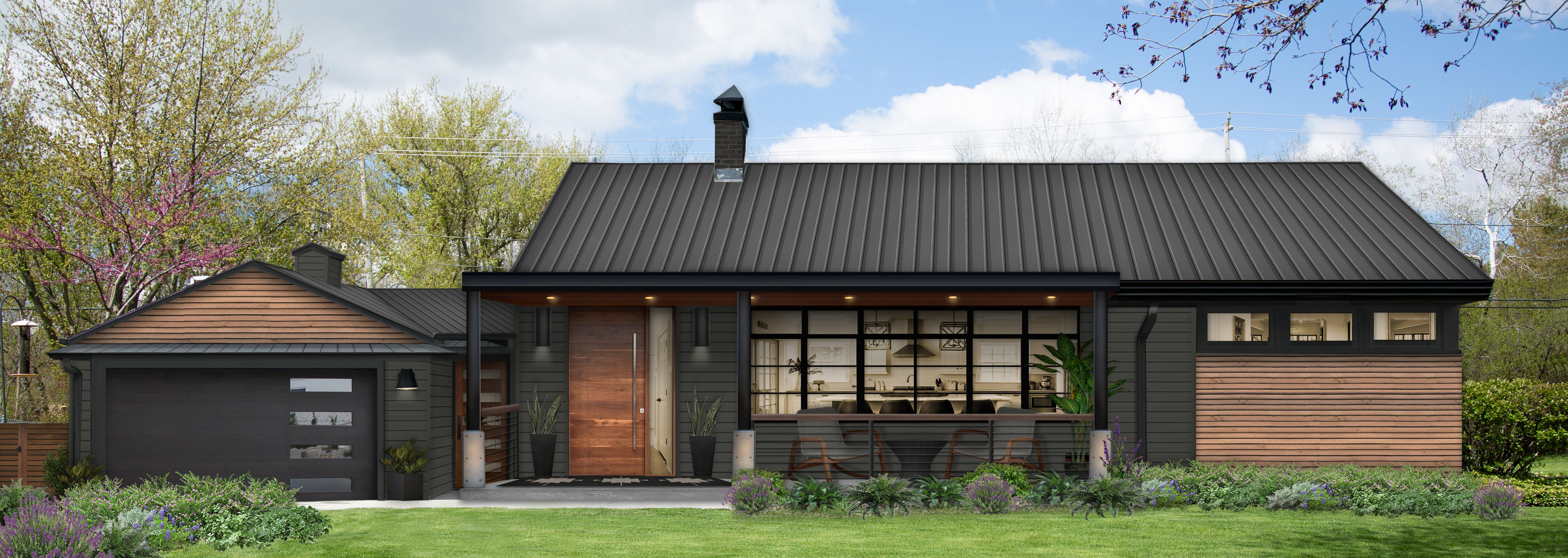 Virtual exterior design of a mid-century modern ranch painted in Iron Ore with wood panelling accents