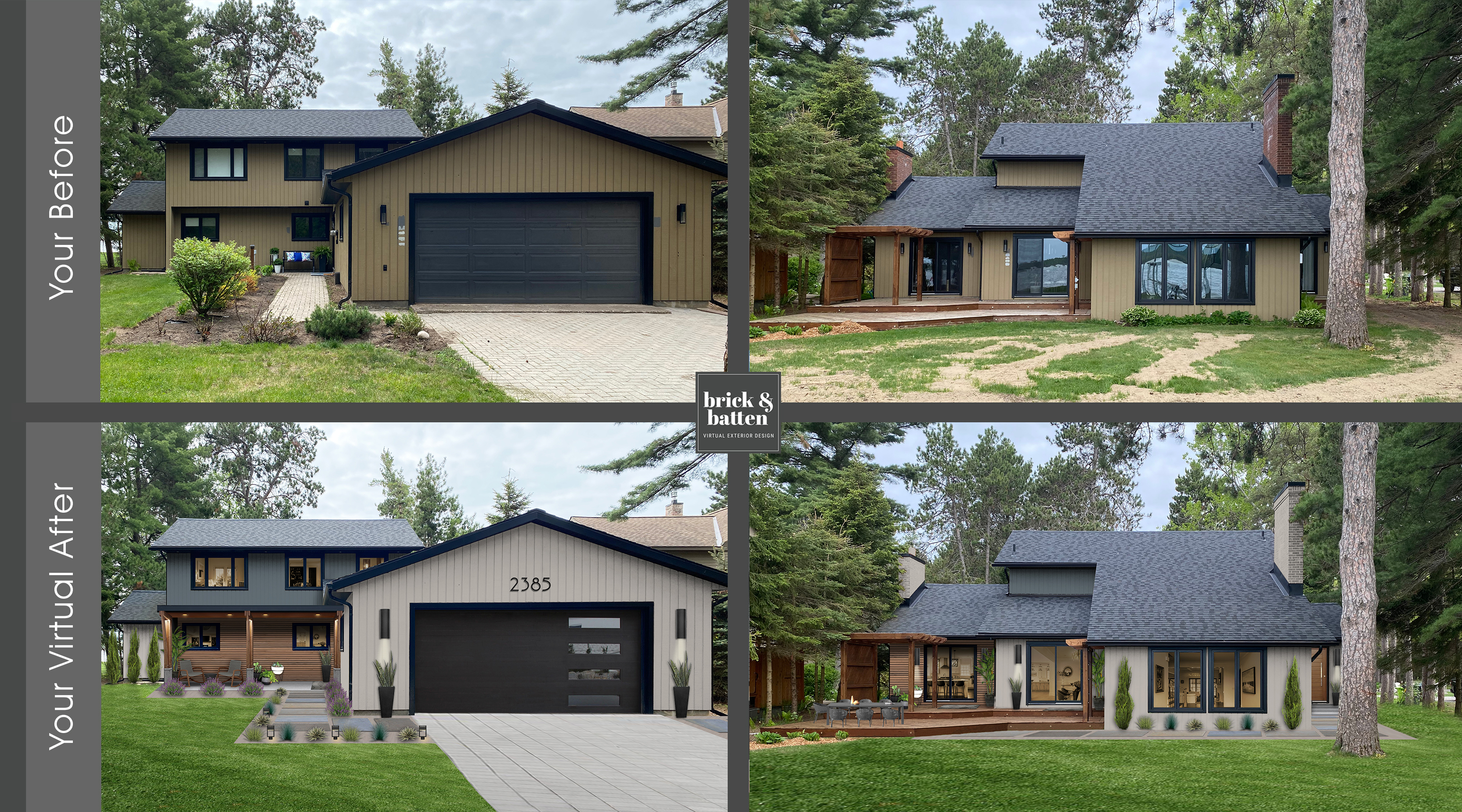 traditional modern home with charcoal, light gray, and wood siding