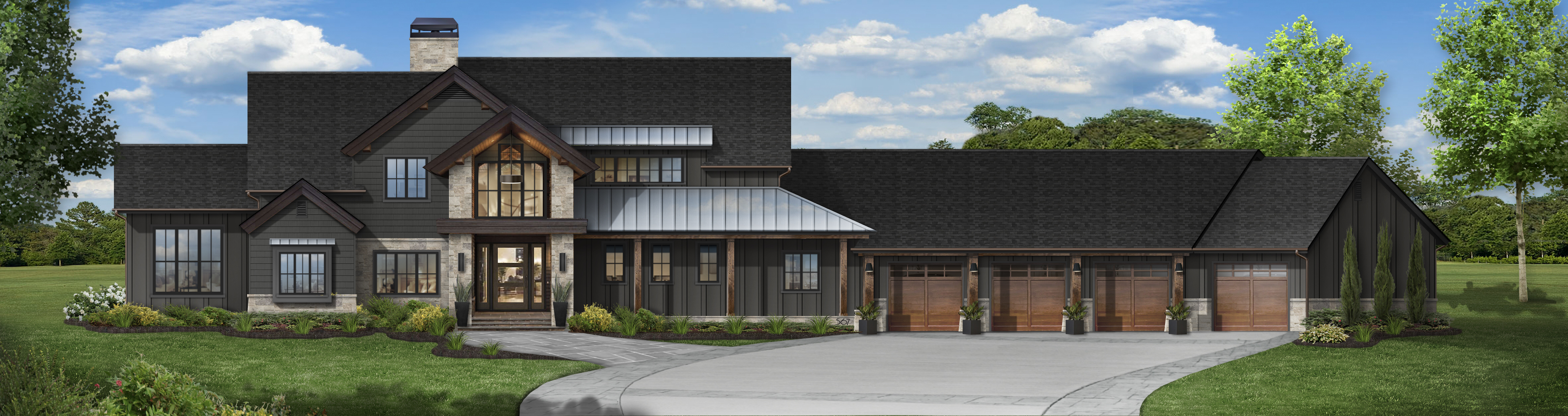Virtual exterior design of a transitional home painted in Iron Ore with Marvin windows and wood and stone accents
