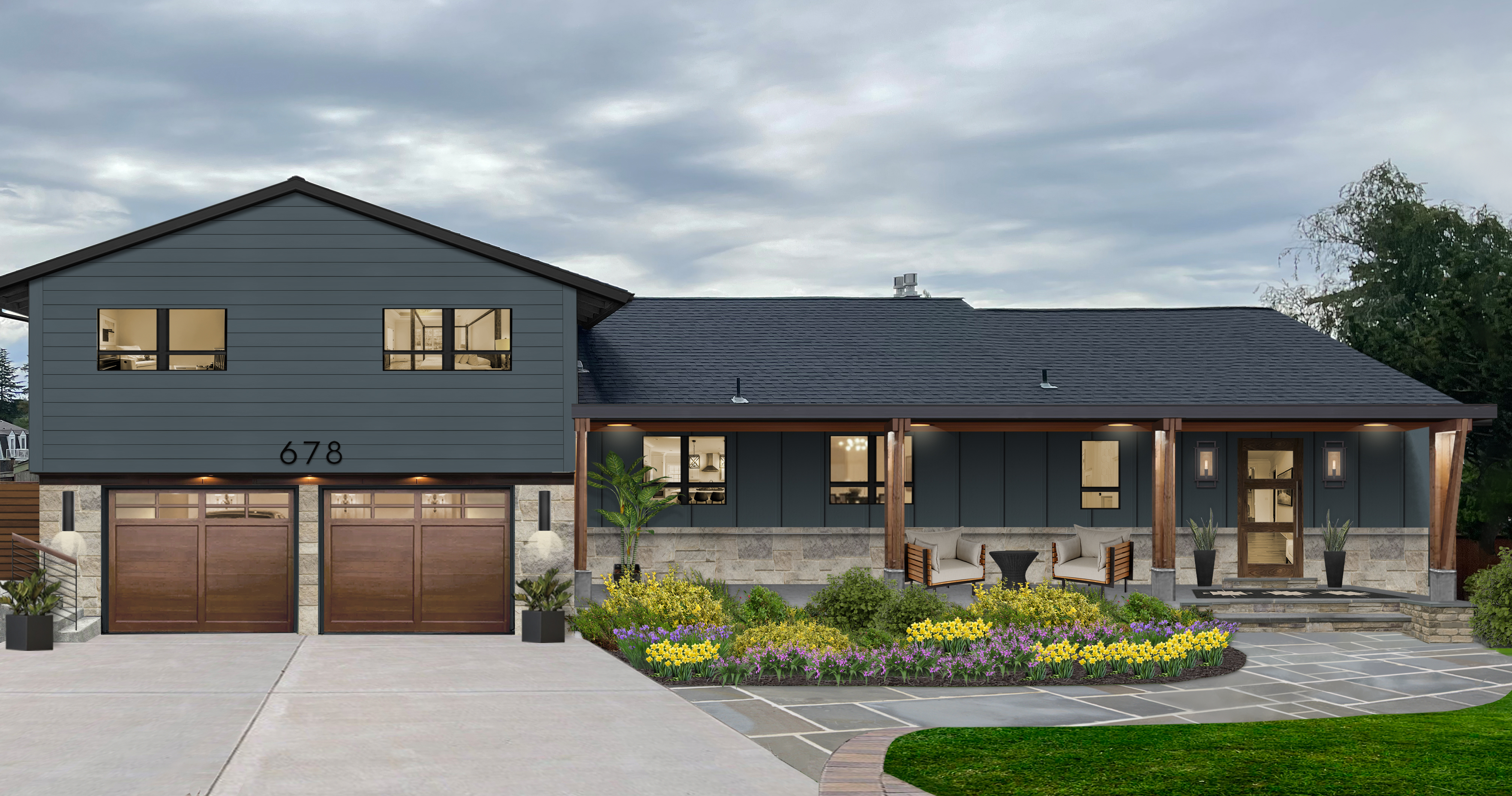 Virtual exterior design of a home with James Hardie siding in Evening Blue