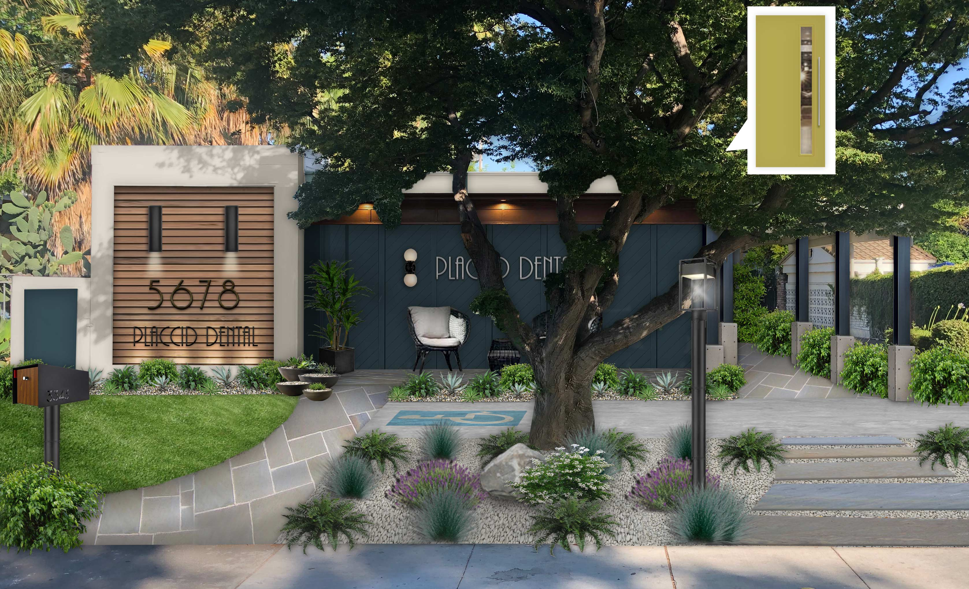 Virtual exterior design of a business painted in Blue Knight with Woodtone accents