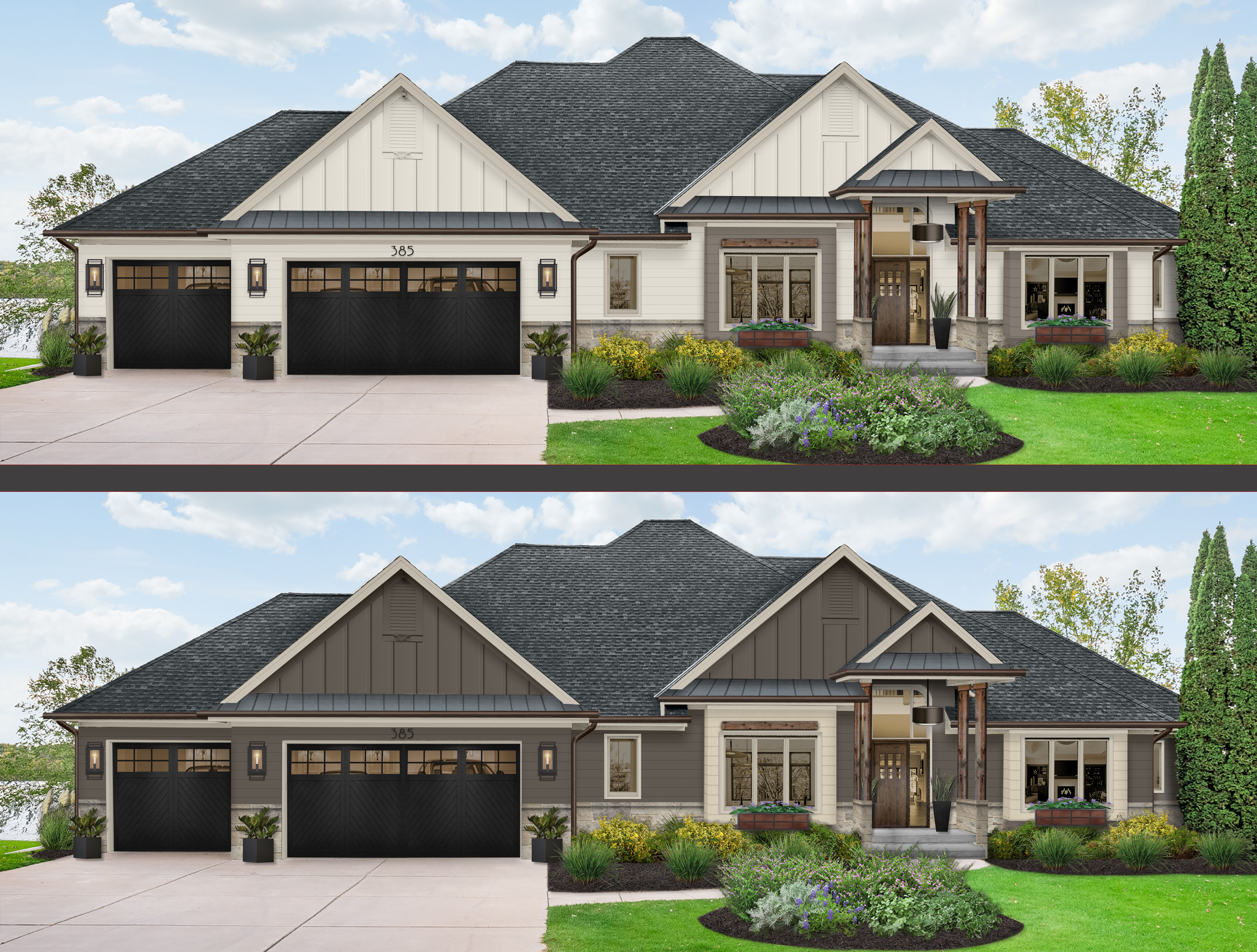 Virtual rendering of a home in two different paint color schemes with simple flower boxes