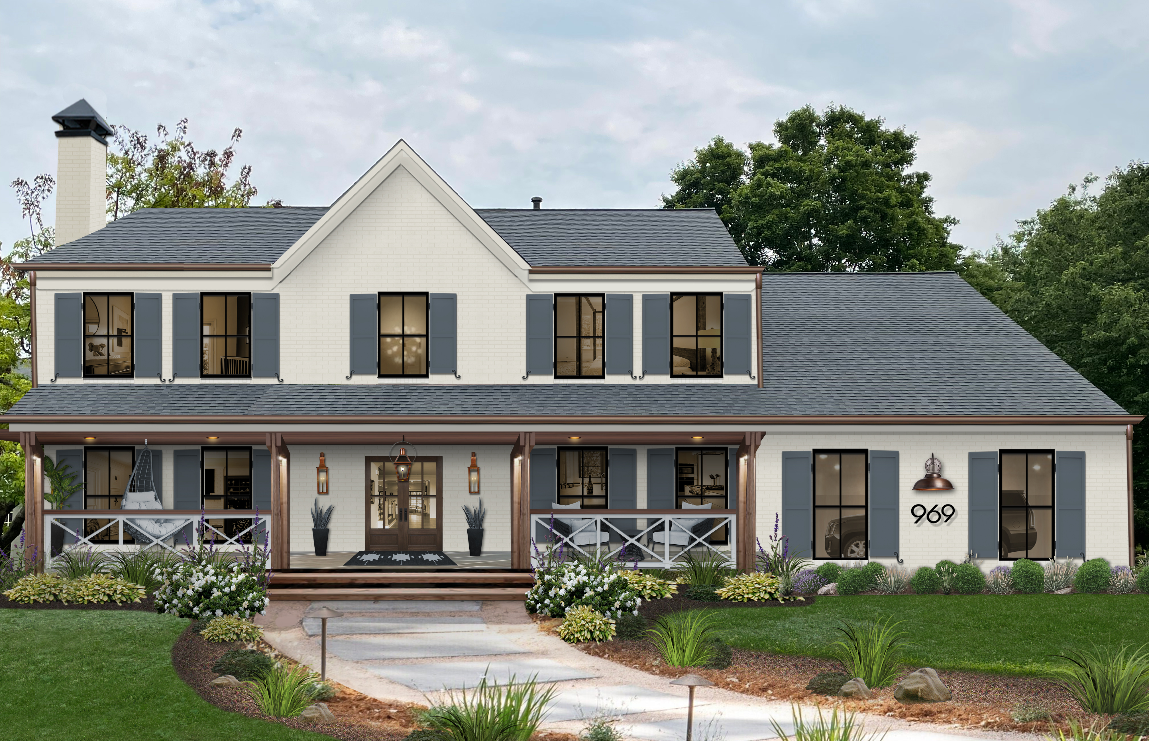 white modern farmhouse with blue-gray shutters