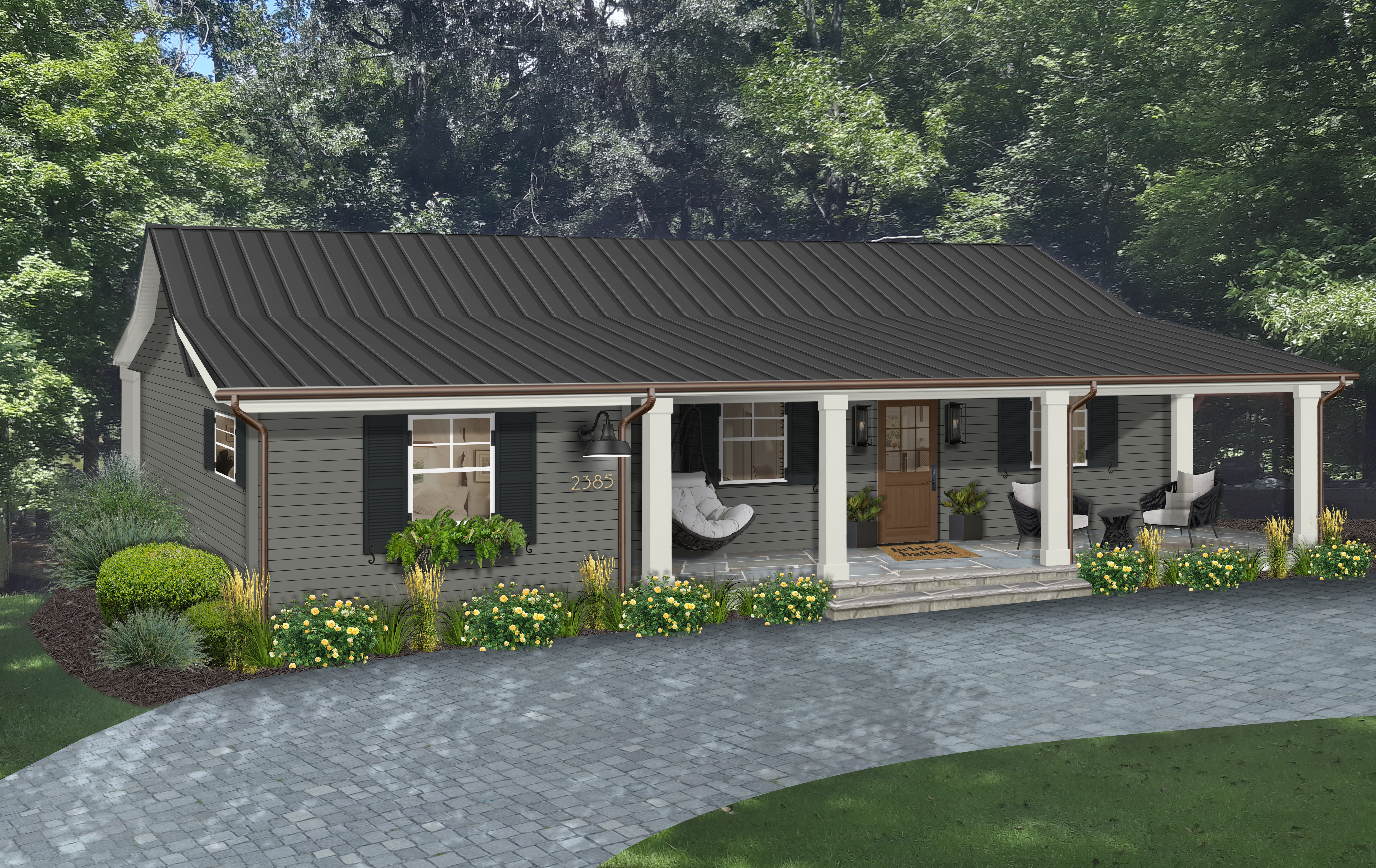 Virtual rendering of a ranch home painted in Amherst Gray