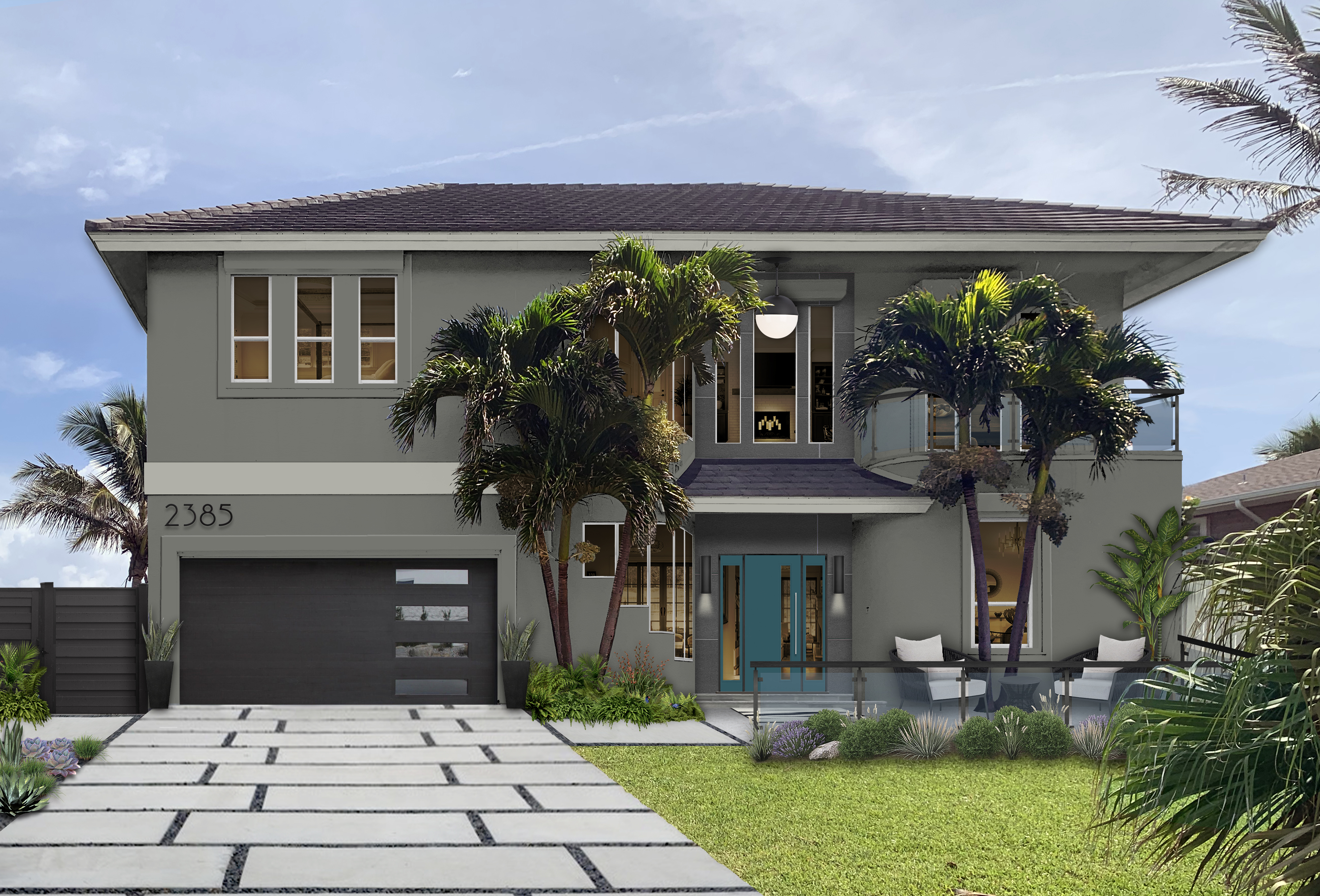Virtual rendering of a two-story home painted in Amherst Gray
