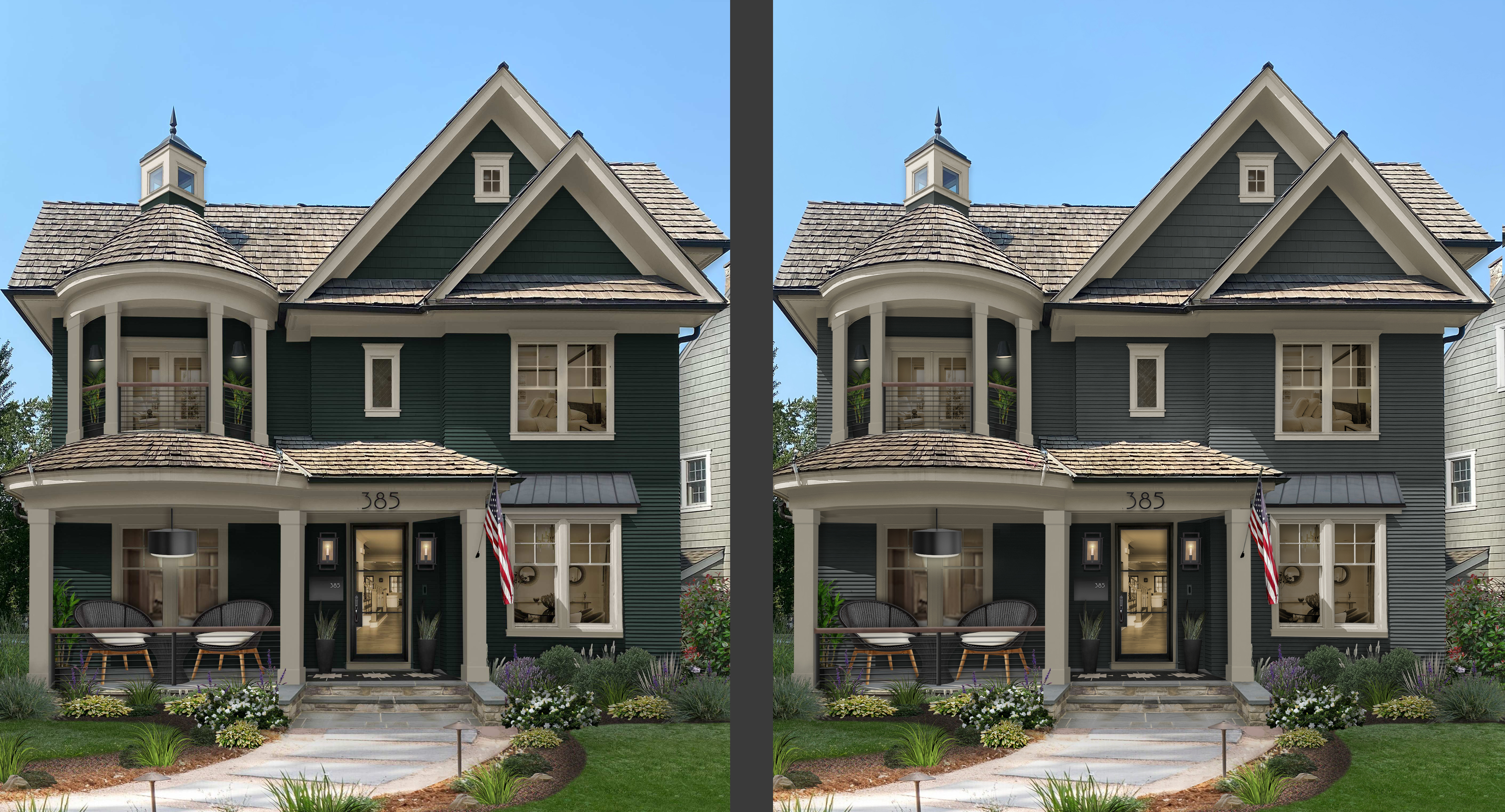 two side by side comparisons of a victorian three story home with a turret and large porch